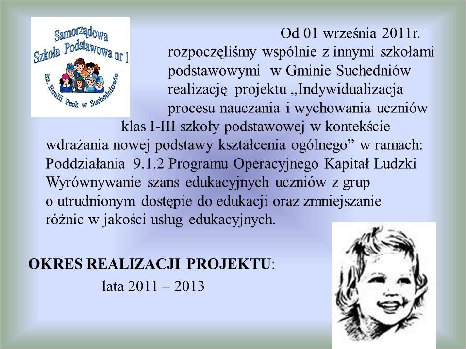 """Od 01 września 2011r. rozpoczęliśmy wspólnie z innymi szkołami podstawowymi w Gminie Suchedniów realizację projektu """"Indywidualizacja procesu nauczani"""