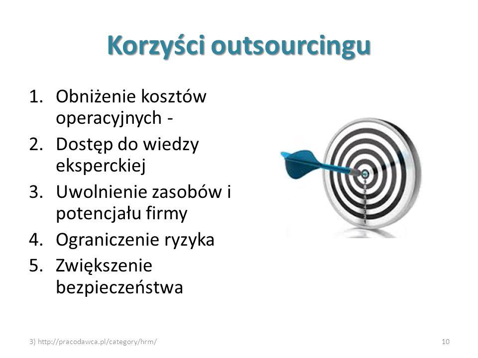 Korzyści outsourcingu 1.Obniżenie kosztów operacyjnych - 2.Dostęp do wiedzy eksperckiej 3.Uwolnienie zasobów i potencjału firmy 4.Ograniczenie ryzyka