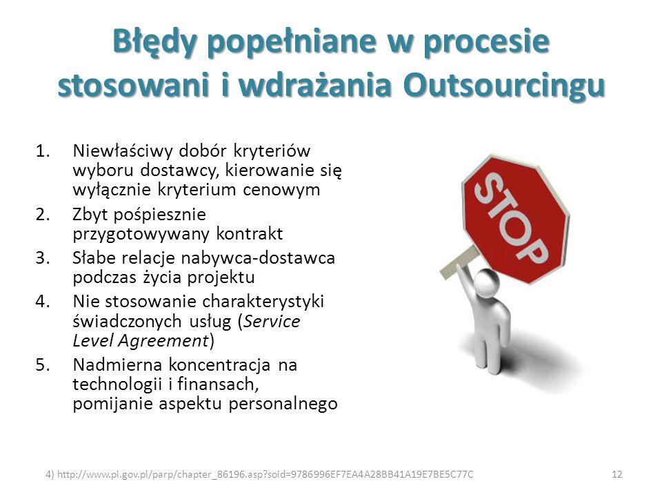 Błędy popełniane w procesie stosowani i wdrażania Outsourcingu 1.Niewłaściwy dobór kryteriów wyboru dostawcy, kierowanie się wyłącznie kryterium cenow