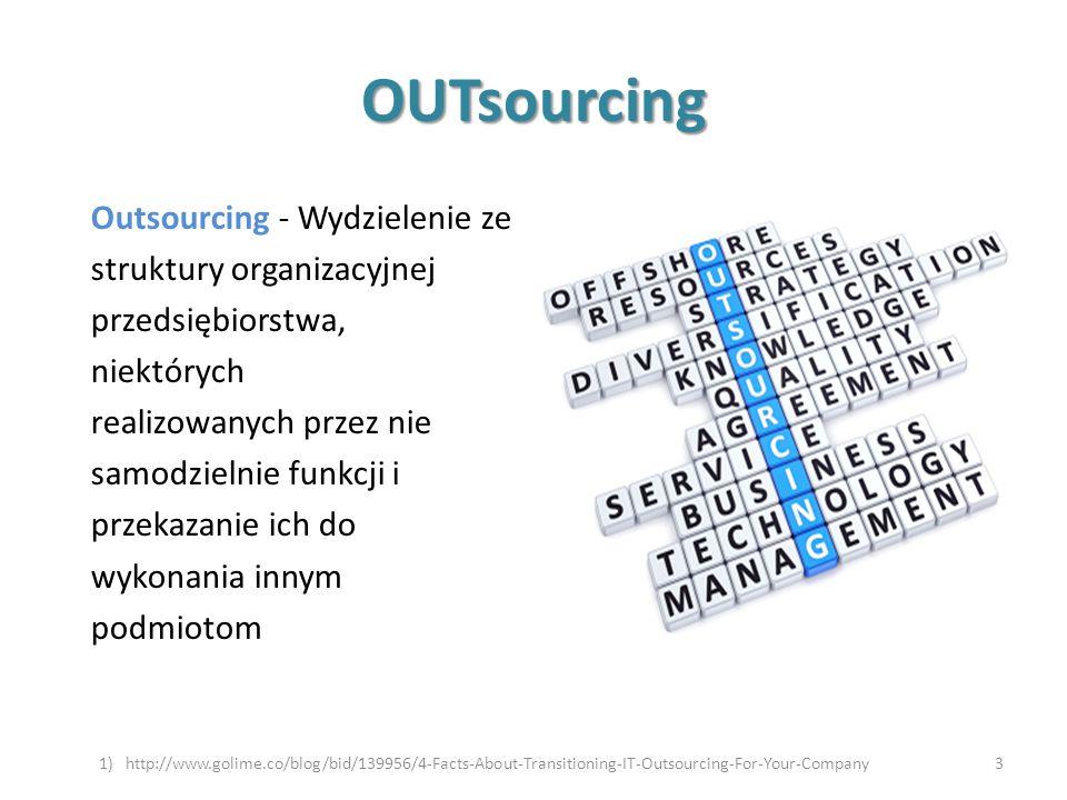 OUTsourcing Outsourcing - Wydzielenie ze struktury organizacyjnej przedsiębiorstwa, niektórych realizowanych przez nie samodzielnie funkcji i przekaza