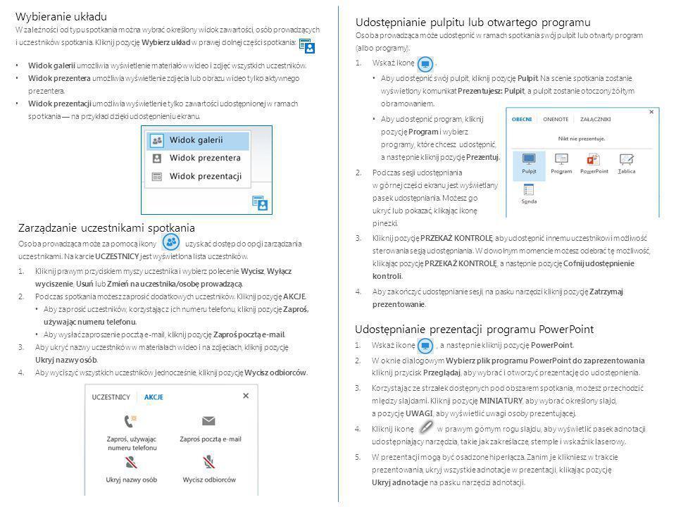 Zarządzanie uczestnikami spotkania Osoba prowadząca może za pomocą ikony uzyskać dostęp do opcji zarządzania uczestnikami.