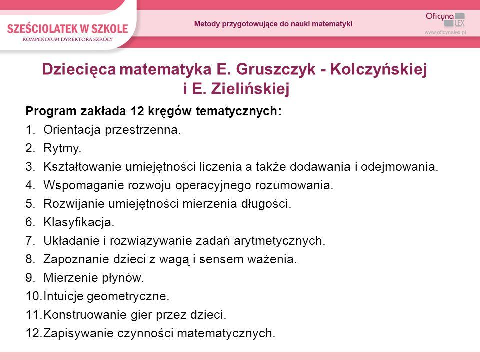 Program zakłada 12 kręgów tematycznych: 1.Orientacja przestrzenna.