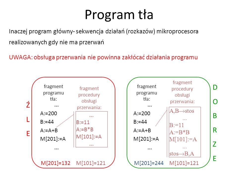 Inaczej program główny- sekwencja działań (rozkazów) mikroprocesora realizowanych gdy nie ma przerwań UWAGA: obsługa przerwania nie powinna zakłócać d