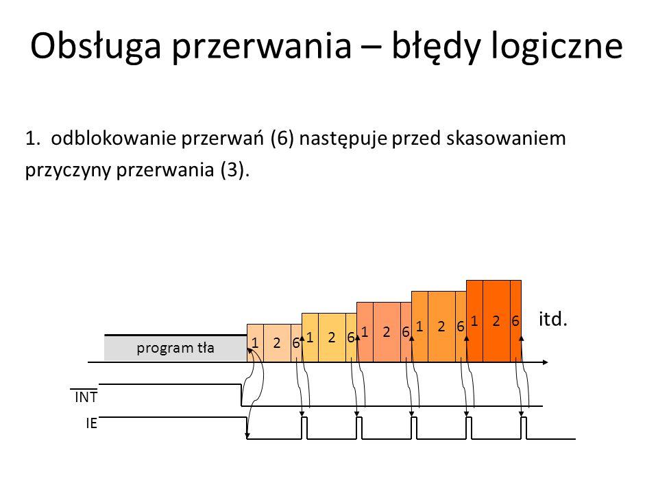 1. odblokowanie przerwań (6) następuje przed skasowaniem przyczyny przerwania (3). 261 program tła 261 261 261 261 itd. INT IE Obsługa przerwania – bł