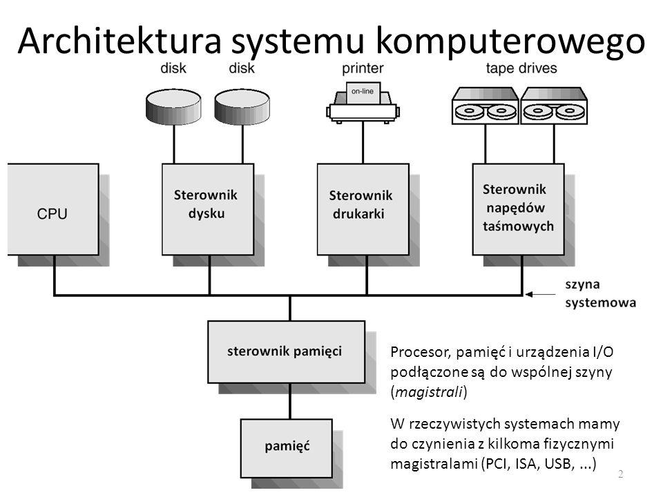 Architektura systemu komputerowego 2 Procesor, pamięć i urządzenia I/O podłączone są do wspólnej szyny (magistrali) W rzeczywistych systemach mamy do