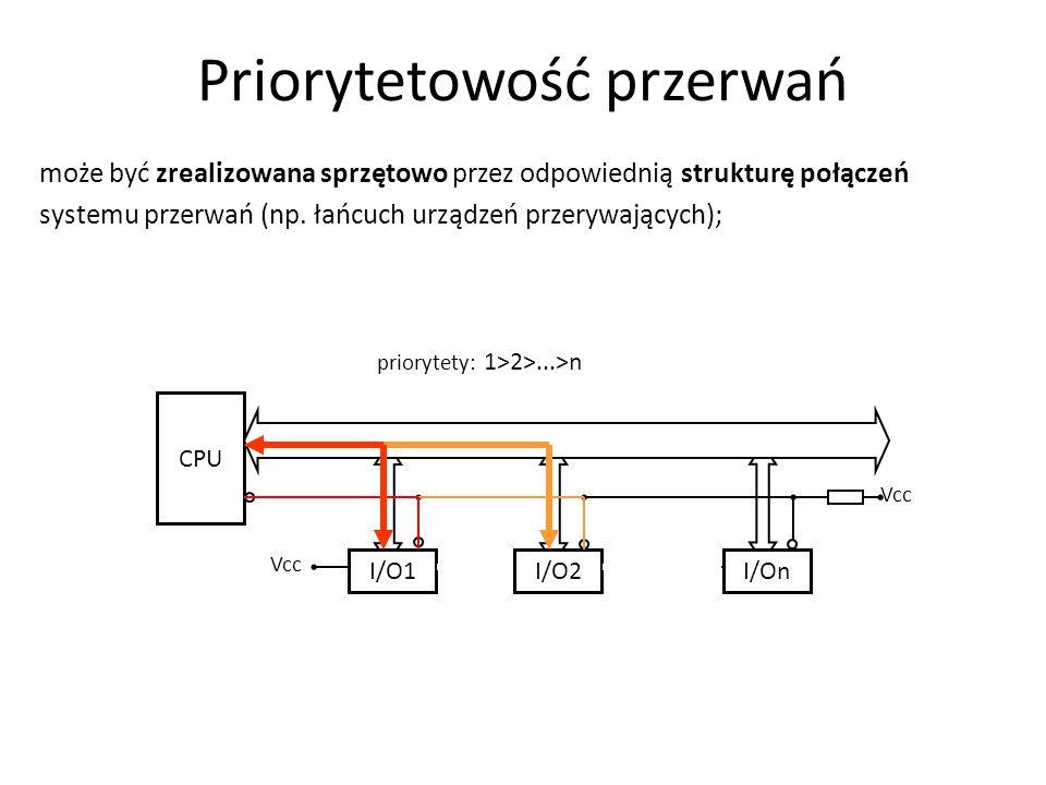 priorytety: 1>2>...>n CPU I/O1I/O2I/On Vcc może być zrealizowana sprzętowo przez odpowiednią strukturę połączeń systemu przerwań (np. łańcuch urządzeń