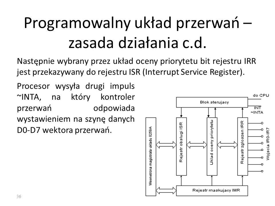 36 Programowalny układ przerwań – zasada działania c.d. Następnie wybrany przez układ oceny priorytetu bit rejestru IRR jest przekazywany do rejestru