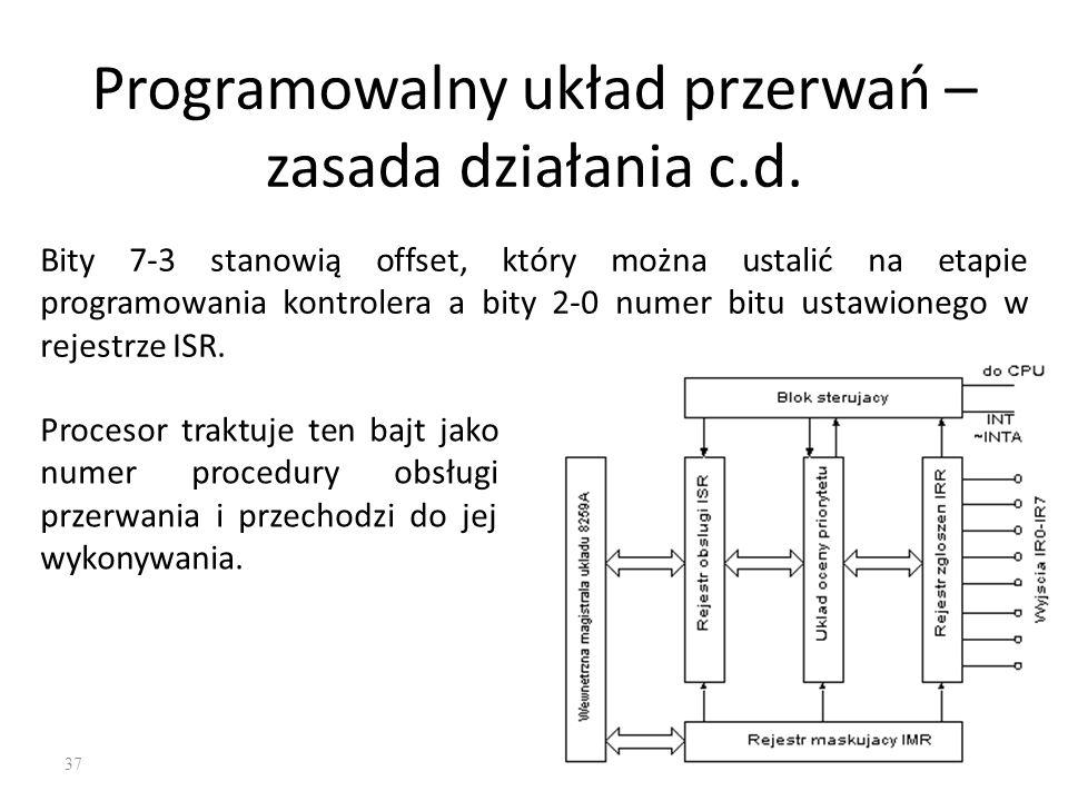 37 Programowalny układ przerwań – zasada działania c.d. Bity 7-3 stanowią offset, który można ustalić na etapie programowania kontrolera a bity 2-0 nu