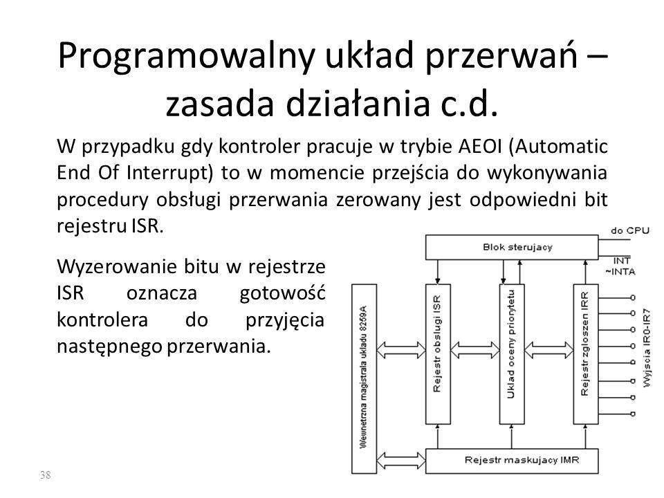 38 Programowalny układ przerwań – zasada działania c.d. W przypadku gdy kontroler pracuje w trybie AEOI (Automatic End Of Interrupt) to w momencie prz