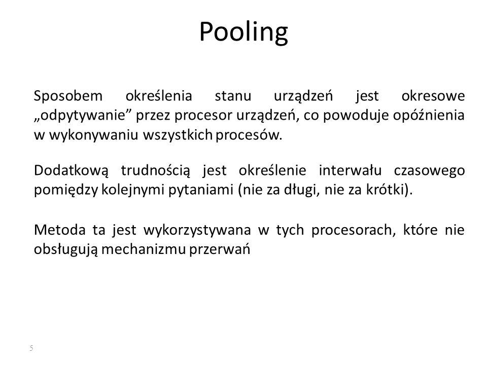 """5 Pooling Sposobem określenia stanu urządzeń jest okresowe """"odpytywanie"""" przez procesor urządzeń, co powoduje opóźnienia w wykonywaniu wszystkich proc"""