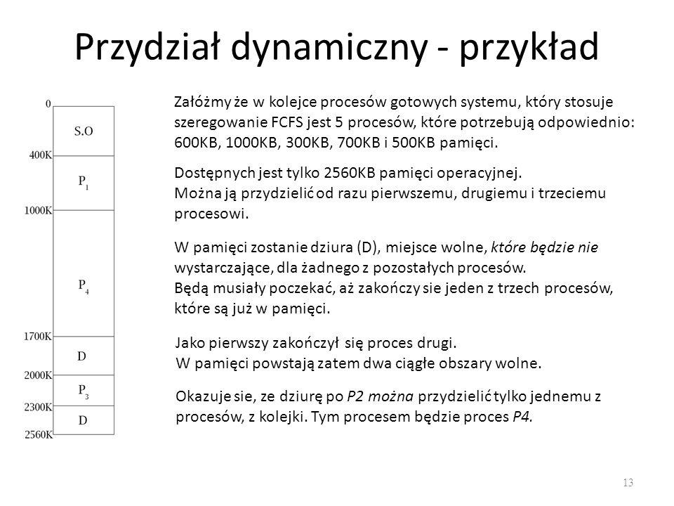 Przydział dynamiczny - przykład 13 Załóżmy że w kolejce procesów gotowych systemu, który stosuje szeregowanie FCFS jest 5 procesów, które potrzebują o