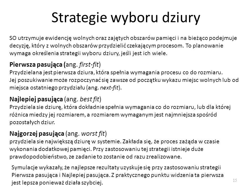 Strategie wyboru dziury 15 SO utrzymuje ewidencję wolnych oraz zajętych obszarów pamięci i na bieżąco podejmuje decyzję, który z wolnych obszarów przy