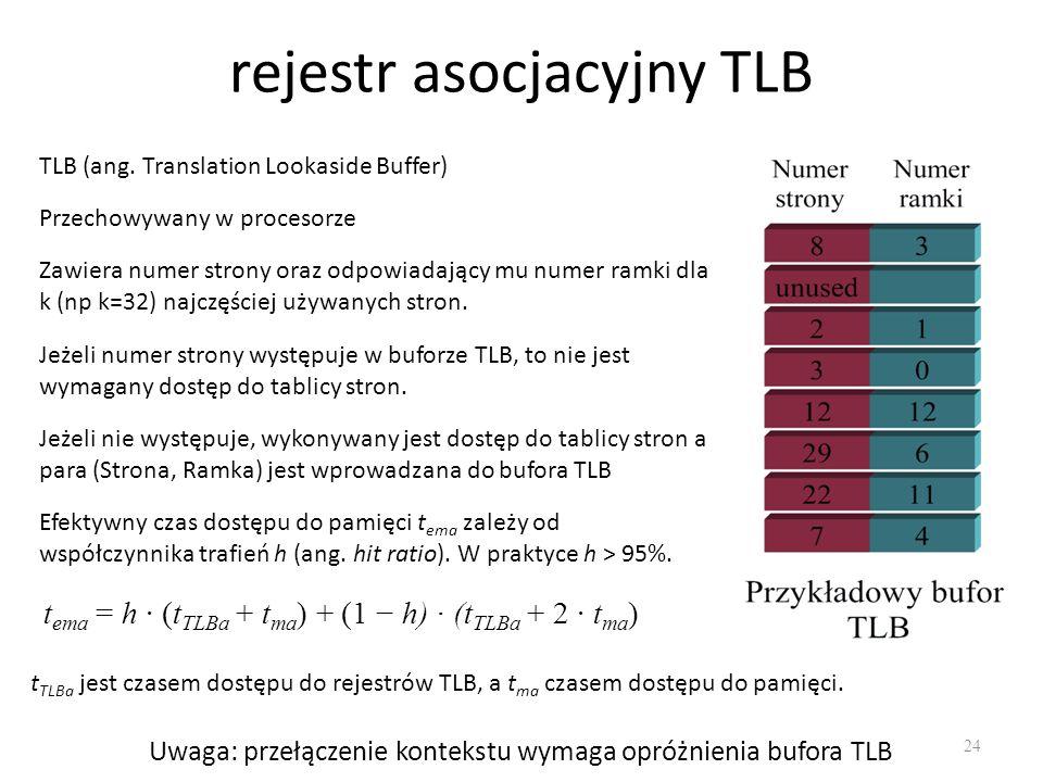 rejestr asocjacyjny TLB 24 TLB (ang. Translation Lookaside Buffer) Przechowywany w procesorze Zawiera numer strony oraz odpowiadający mu numer ramki d