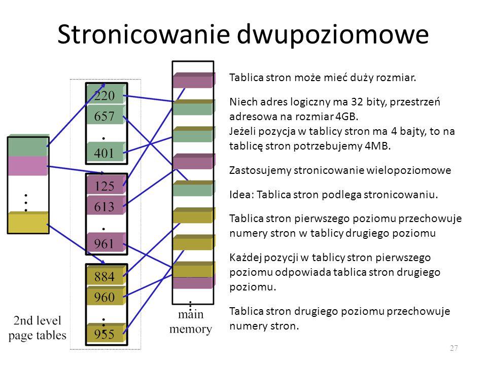 Stronicowanie dwupoziomowe 27 Tablica stron może mieć duży rozmiar. Niech adres logiczny ma 32 bity, przestrzeń adresowa na rozmiar 4GB. Jeżeli pozycj