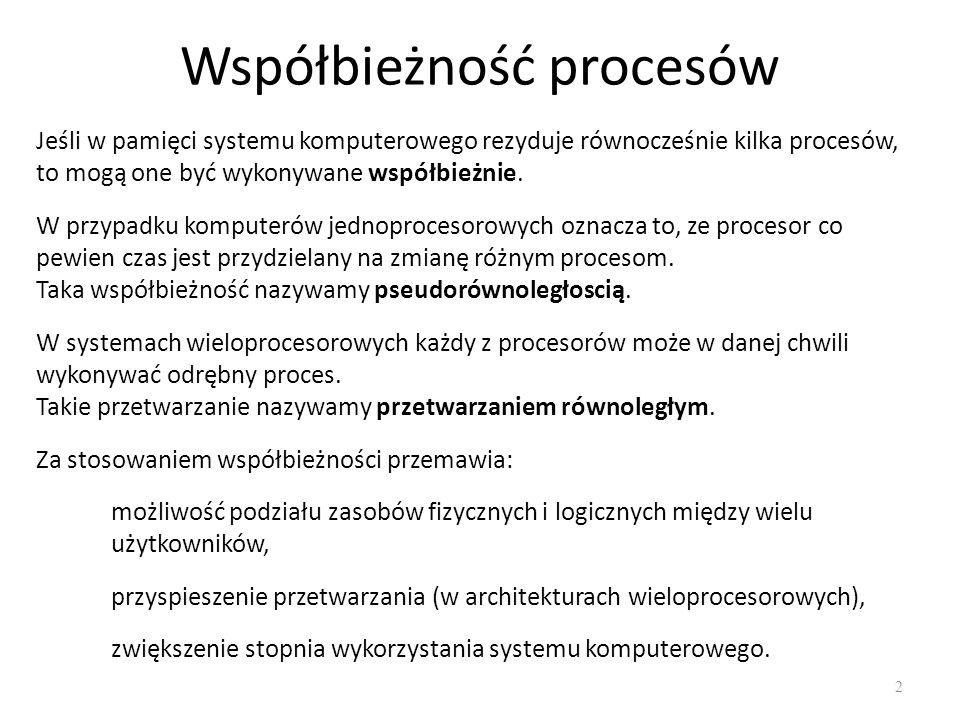 Współbieżność procesów 2 Jeśli w pamięci systemu komputerowego rezyduje równocześnie kilka procesów, to mogą one być wykonywane współbieżnie. W przypa