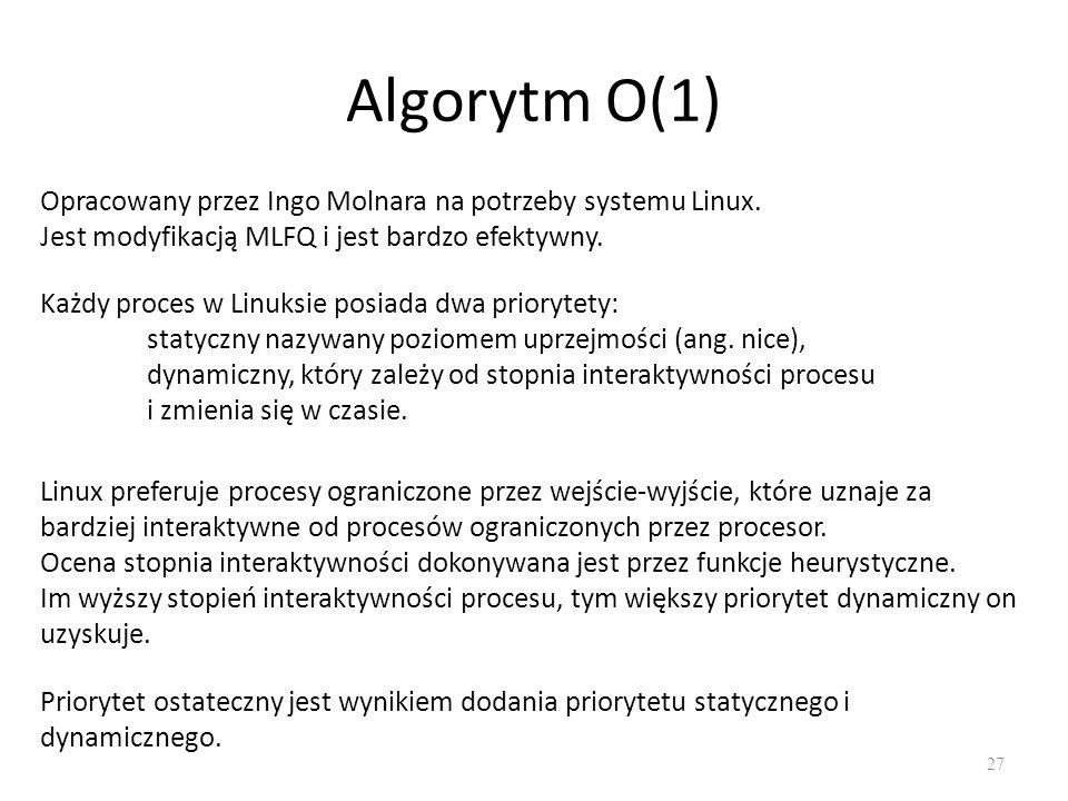 Algorytm O(1) 27 Opracowany przez Ingo Molnara na potrzeby systemu Linux. Jest modyfikacją MLFQ i jest bardzo efektywny. Każdy proces w Linuksie posia
