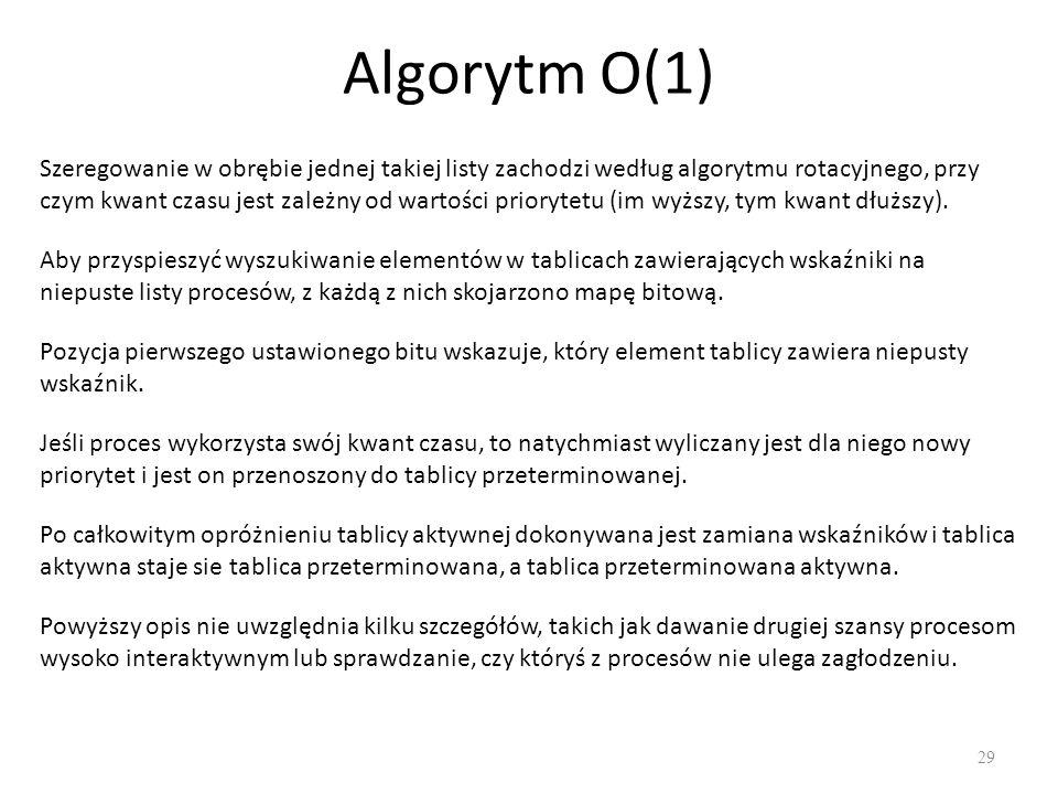Algorytm O(1) 29 Szeregowanie w obrębie jednej takiej listy zachodzi według algorytmu rotacyjnego, przy czym kwant czasu jest zależny od wartości prio