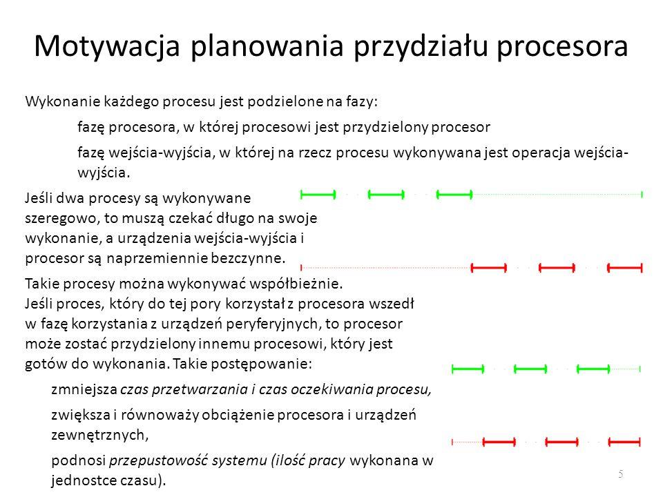 Motywacja planowania przydziału procesora 5 Jeśli dwa procesy są wykonywane szeregowo, to muszą czekać długo na swoje wykonanie, a urządzenia wejścia-