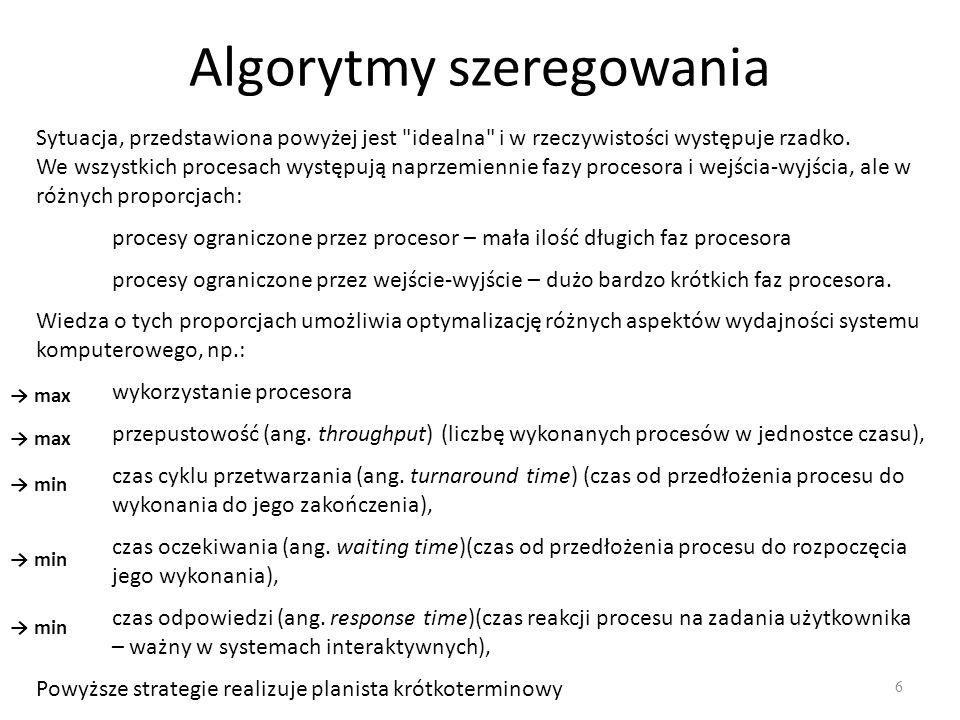 Algorytmy szeregowania 6 Sytuacja, przedstawiona powyżej jest