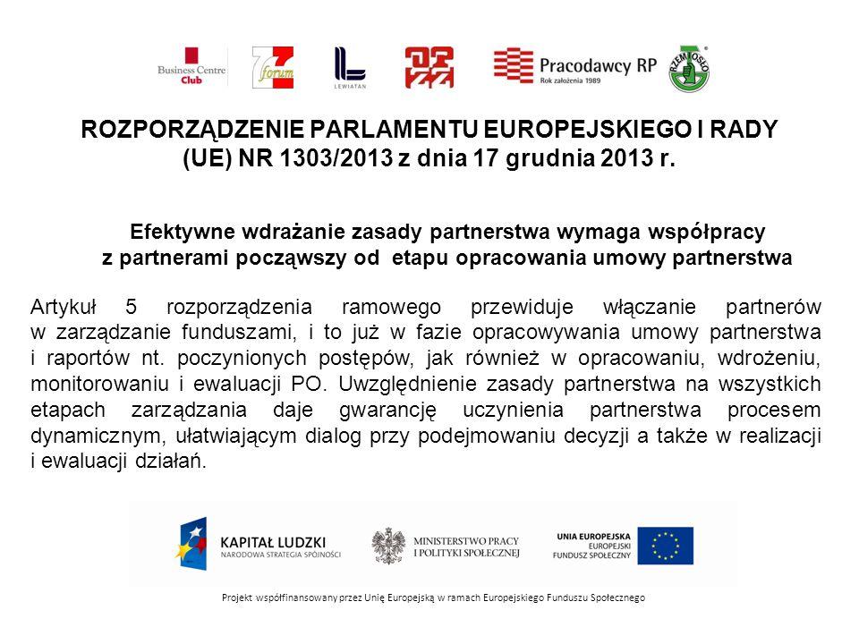 Projekt współfinansowany przez Unię Europejską w ramach Europejskiego Funduszu Społecznego ROZPORZĄDZENIE PARLAMENTU EUROPEJSKIEGO I RADY (UE) NR 1303