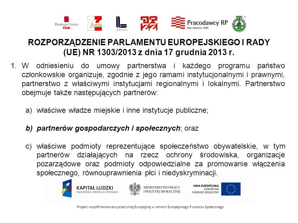 Projekt współfinansowany przez Unię Europejską w ramach Europejskiego Funduszu Społecznego ROZPORZĄDZENIE PARLAMENTU EUROPEJSKIEGO I RADY (UE) NR 1303/2013 z dnia 17 grudnia 2013 r.
