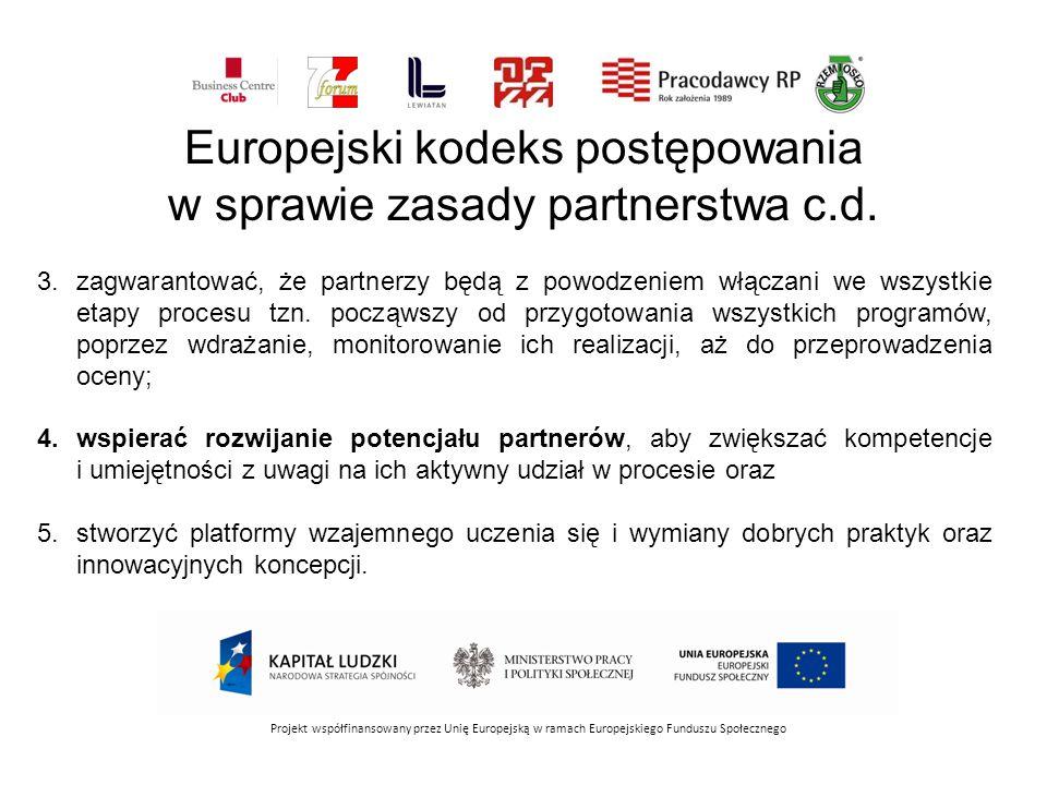 Projekt współfinansowany przez Unię Europejską w ramach Europejskiego Funduszu Społecznego 3.zagwarantować, że partnerzy będą z powodzeniem włączani w