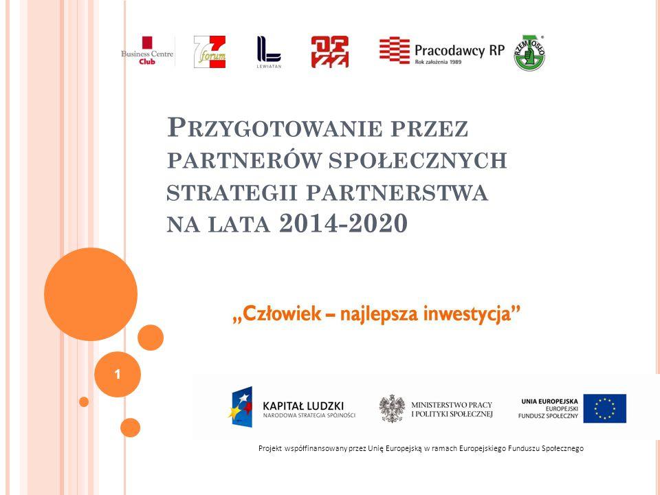 P RZYGOTOWANIE PRZEZ PARTNERÓW SPOŁECZNYCH STRATEGII PARTNERSTWA NA LATA 2014-2020 Projekt współfinansowany przez Unię Europejską w ramach Europejskiego Funduszu Społecznego 1