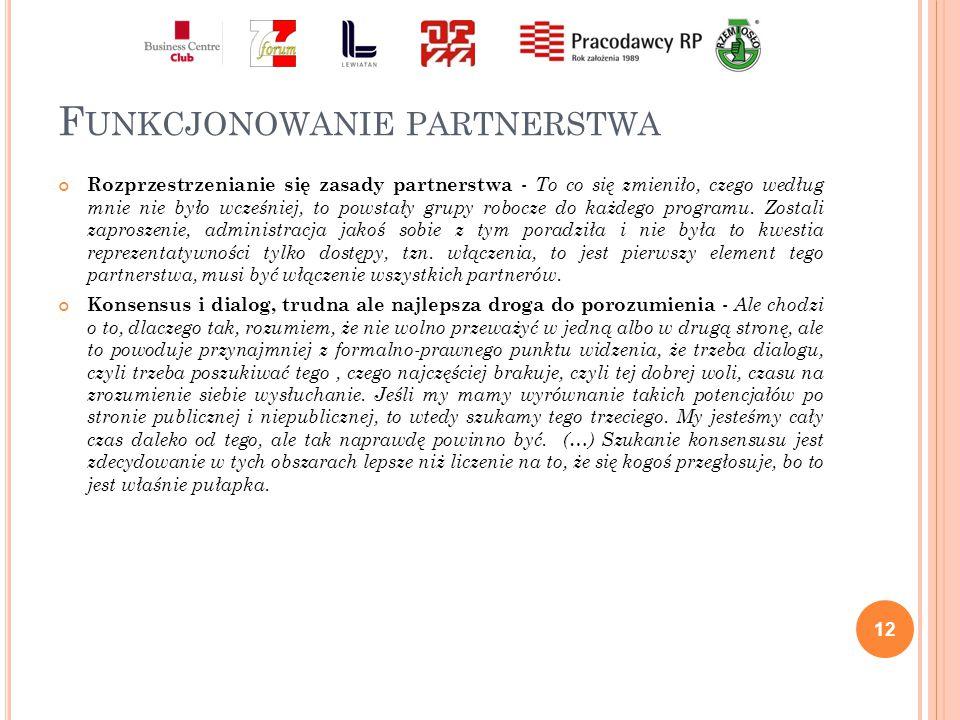 F UNKCJONOWANIE PARTNERSTWA Rozprzestrzenianie się zasady partnerstwa - To co się zmieniło, czego według mnie nie było wcześniej, to powstały grupy robocze do każdego programu.