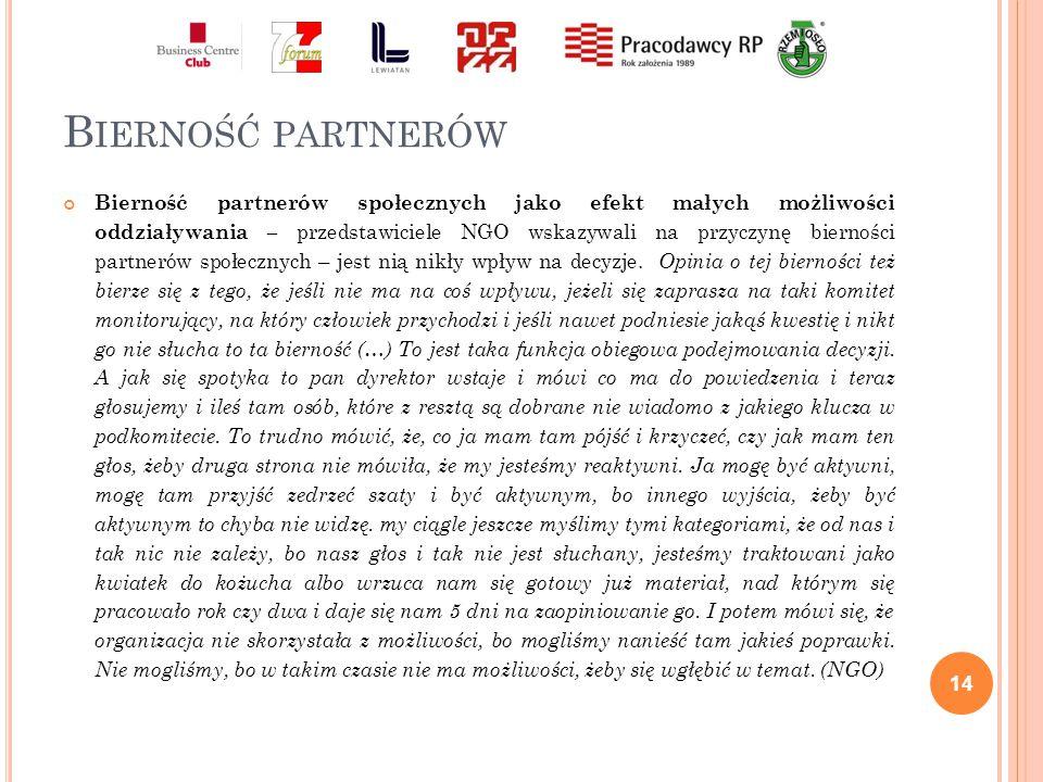 B IERNOŚĆ PARTNERÓW Bierność partnerów społecznych jako efekt małych możliwości oddziaływania – przedstawiciele NGO wskazywali na przyczynę bierności partnerów społecznych – jest nią nikły wpływ na decyzje.