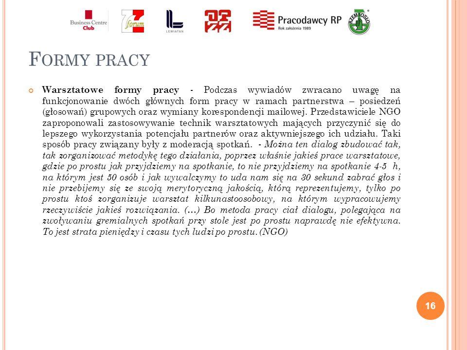 F ORMY PRACY Warsztatowe formy pracy - Podczas wywiadów zwracano uwagę na funkcjonowanie dwóch głównych form pracy w ramach partnerstwa – posiedzeń (głosowań) grupowych oraz wymiany korespondencji mailowej.