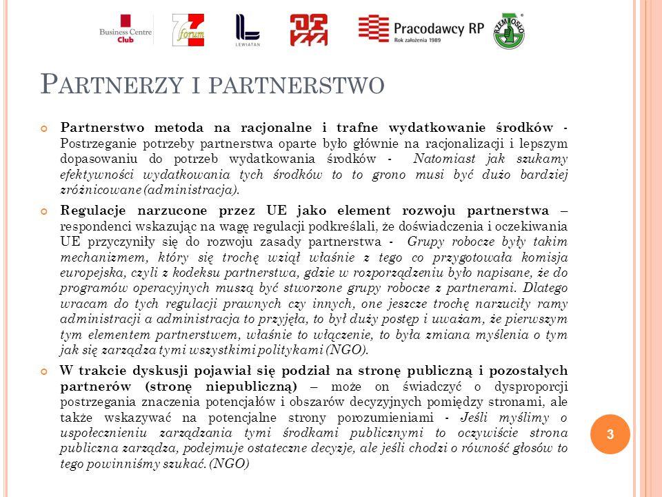 Z ASADA PARTNERSTWA Podstawowe zasady partnerstwa - Partnerstwo powinno być równe dla wszystkich partnerów.