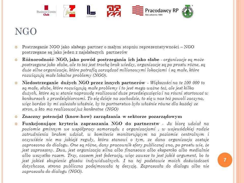 Ś WIAT NAUKI Niejasna rola przedstawicieli świata nauki – w trakcie badania wskazywano na przynajmniej trzy role w jakich mogą występować przedstawiciele świata nauki: jako eksperci wynajęcie przez innych partnerów społecznych, jako eksperci wspomagający proces podejmowania decyzji przez partnerstwo (poprzez dostarczanie informacji i komentowania ze zobiektywizowanej pozycji podnoszonych argumentów) oraz jako reprezentanci interesów naukowców - Na grupie roboczej Polska Cyfrowa, rzeczywiście naukowcy tam byli właśnie w tych trzech rolach, czyli ktoś interesuje się generalnie cyfryzacją naukowo i badaniem społeczeństwa informacyjnego i po prostu z tego punktu widzenia, ale z drugiej strony grupa interesów, bo robi ekspertyzy dla ministerstwa jednocześnie.