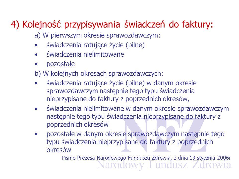 4) Kolejność przypisywania świadczeń do faktury: a) W pierwszym okresie sprawozdawczym: świadczenia ratujące życie (pilne) świadczenia nielimitowane p