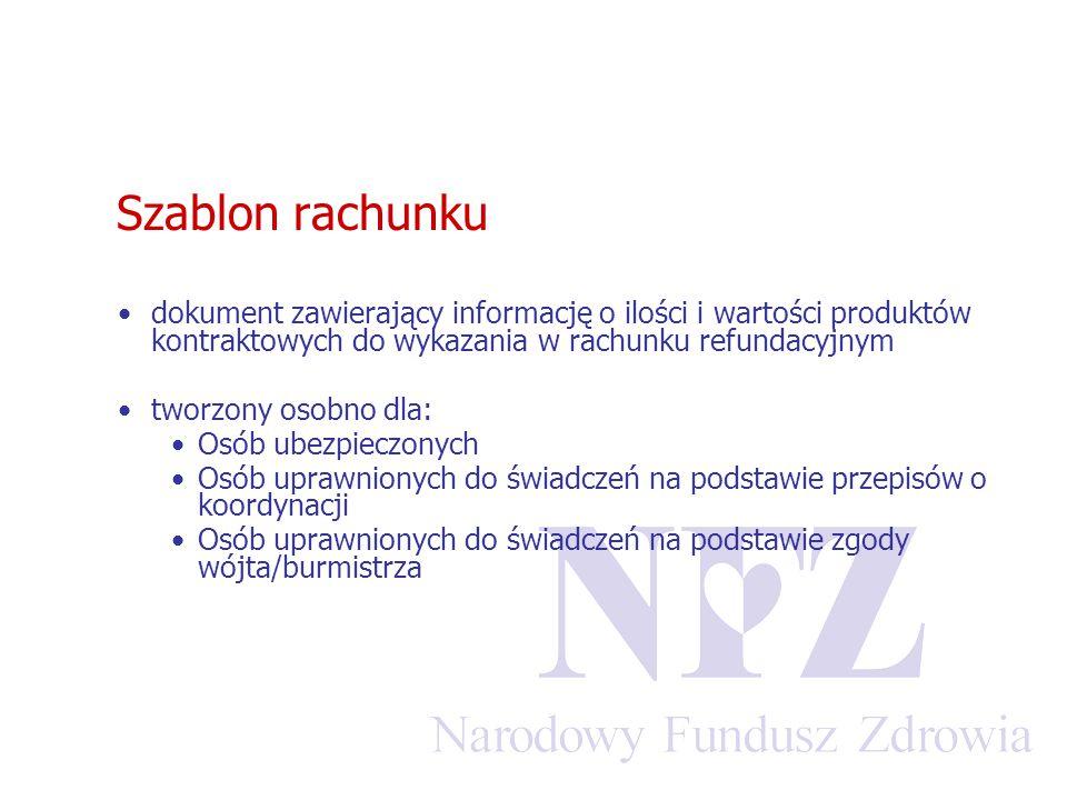 Szablon rachunku dokument zawierający informację o ilości i wartości produktów kontraktowych do wykazania w rachunku refundacyjnym tworzony osobno dla