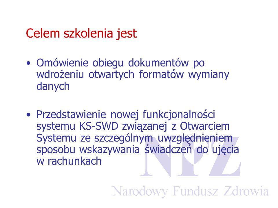 Celem szkolenia jest Omówienie obiegu dokumentów po wdrożeniu otwartych formatów wymiany danych Przedstawienie nowej funkcjonalności systemu KS-SWD związanej z Otwarciem Systemu ze szczególnym uwzględnieniem sposobu wskazywania świadczeń do ujęcia w rachunkach
