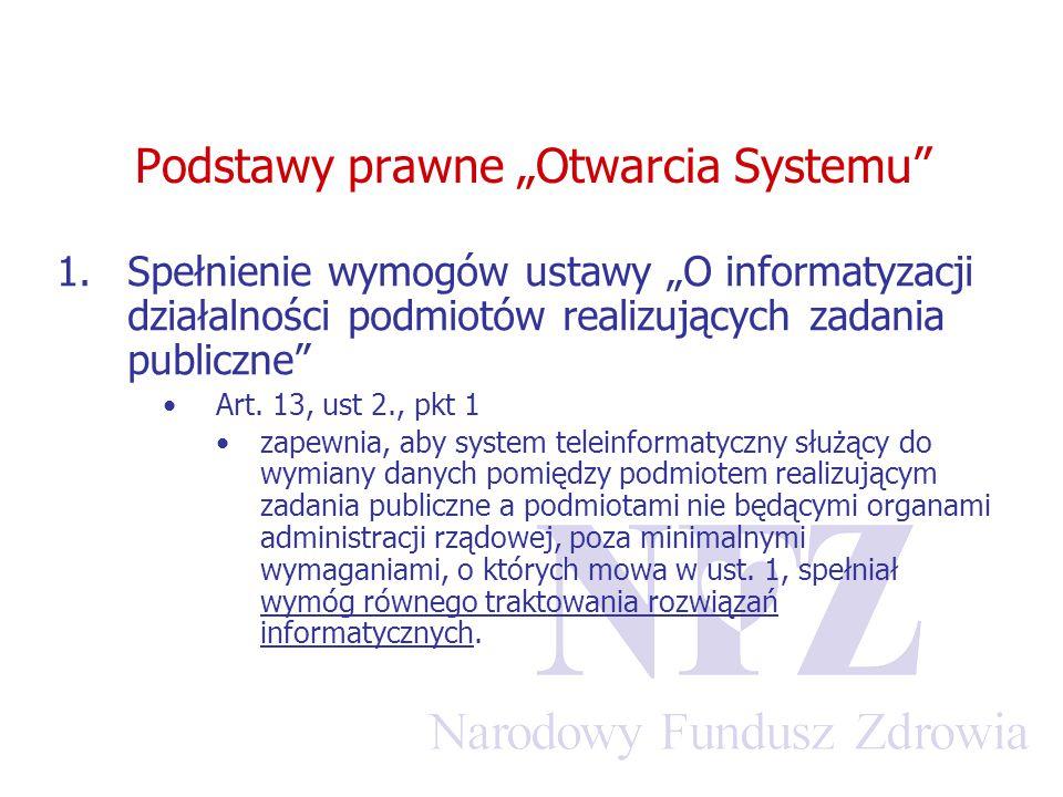 """Podstawy prawne """"Otwarcia Systemu"""" 1.Spełnienie wymogów ustawy """"O informatyzacji działalności podmiotów realizujących zadania publiczne"""" Art. 13, ust"""