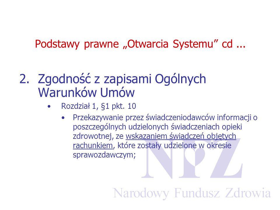 """Podstawy prawne """"Otwarcia Systemu"""" cd... 2.Zgodność z zapisami Ogólnych Warunków Umów Rozdział 1, §1 pkt. 10 Przekazywanie przez świadczeniodawców inf"""