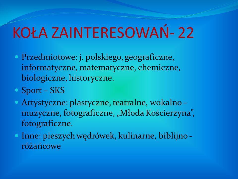 KOŁA ZAINTERESOWAŃ- 22 Przedmiotowe: j. polskiego, geograficzne, informatyczne, matematyczne, chemiczne, biologiczne, historyczne. Sport – SKS Artysty