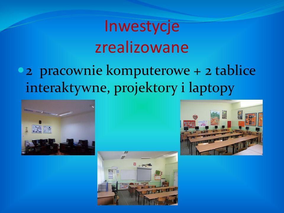 Inwestycje zrealizowane 2 pracownie komputerowe + 2 tablice interaktywne, projektory i laptopy