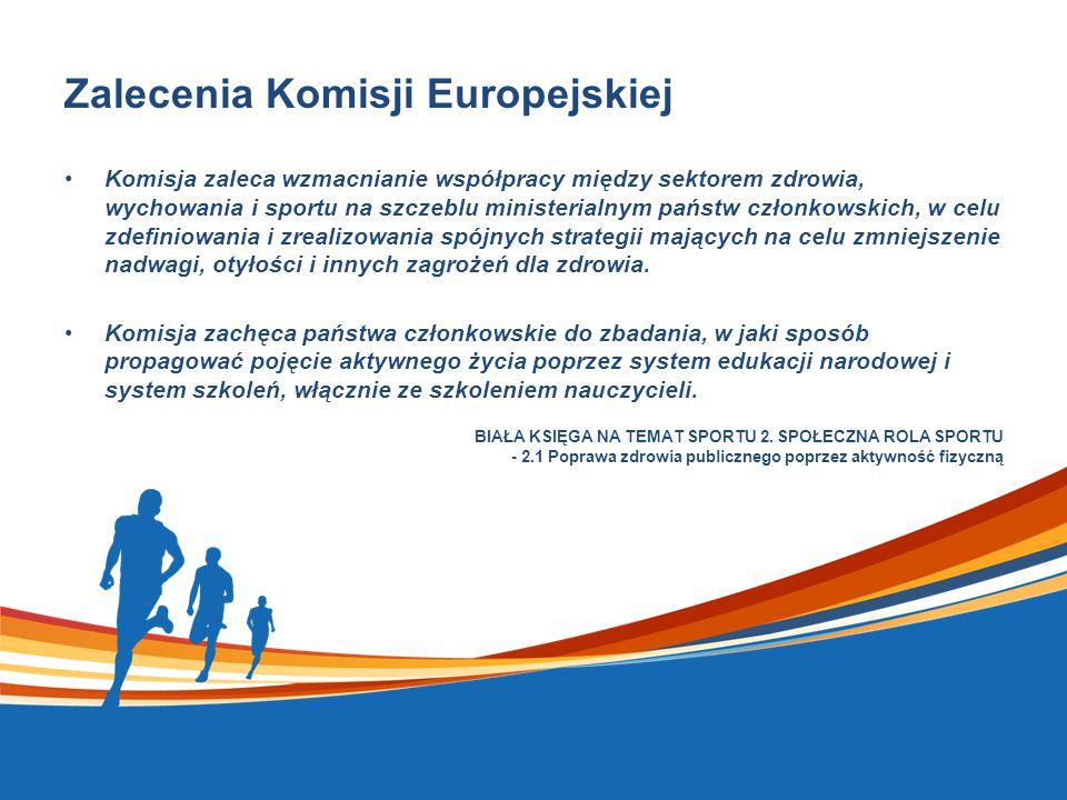 Zalecenia Komisji Europejskiej Komisja zaleca wzmacnianie współpracy między sektorem zdrowia, wychowania i sportu na szczeblu ministerialnym państw członkowskich, w celu zdefiniowania i zrealizowania spójnych strategii mających na celu zmniejszenie nadwagi, otyłości i innych zagrożeń dla zdrowia.