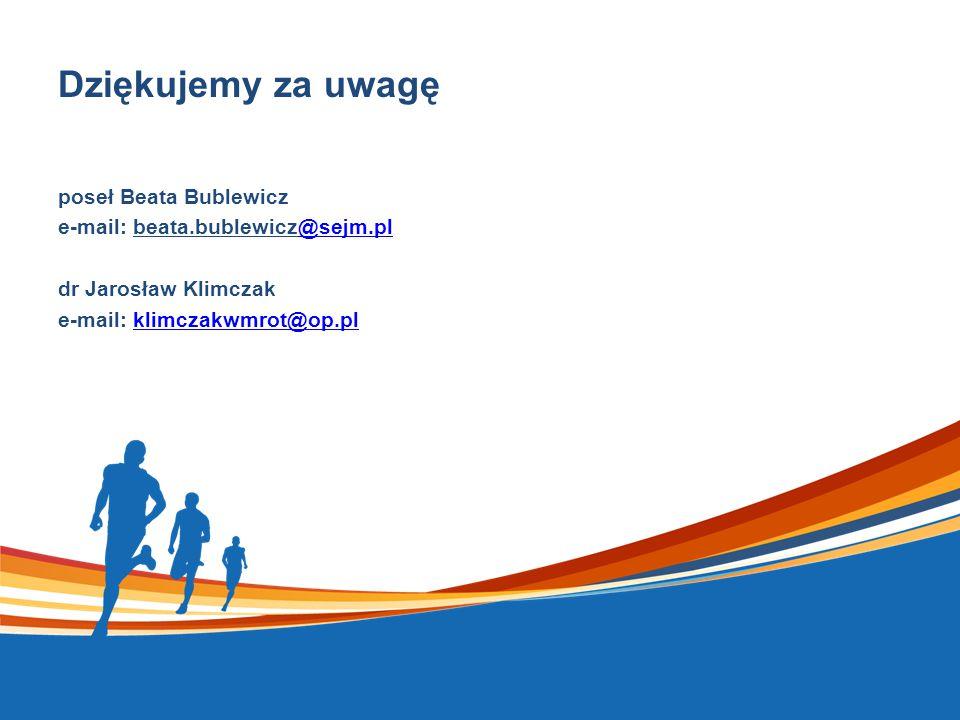 Dziękujemy za uwagę poseł Beata Bublewicz e-mail: beata.bublewicz@sejm.pl@sejm.pl dr Jarosław Klimczak e-mail: klimczakwmrot@op.plklimczakwmrot@op.pl