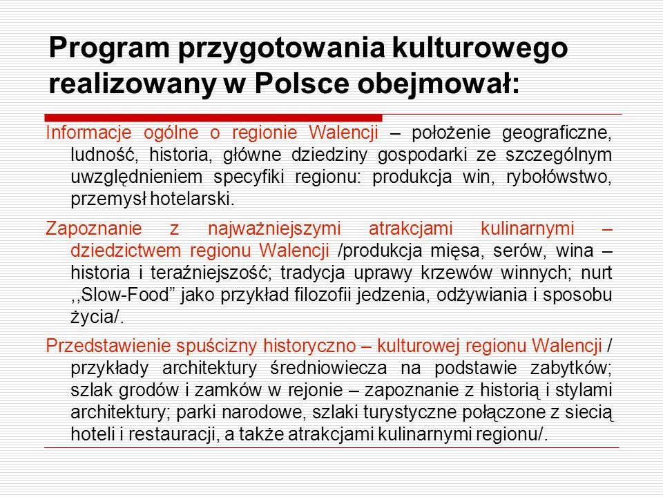 Program przygotowania kulturowego realizowany w Polsce obejmował: Informacje ogólne o regionie Walencji – położenie geograficzne, ludność, historia, g