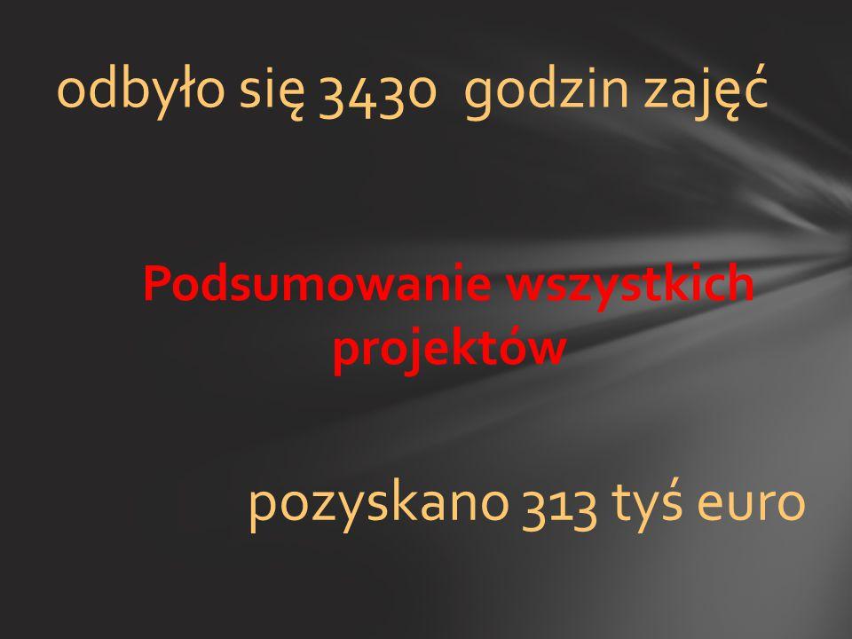 Podsumowanie wszystkich projektów odbyło się 3430 godzin zajęć pozyskano 313 tyś euro