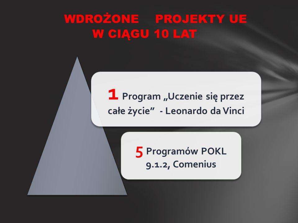"""WDROŻONE PROJEKTY UE W CIĄGU 10 LAT 1 Program """"Uczenie się przez całe życie"""" - Leonardo da Vinci 5 Programów POKL 9.1.2, Comenius"""