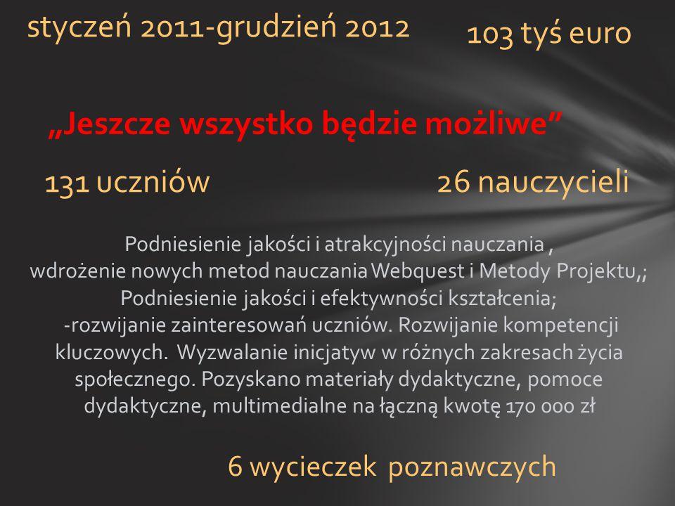 """""""Jeszcze wszystko będzie możliwe"""" styczeń 2011-grudzień 2012 131 uczniów26 nauczycieli 103 tyś euro 6 wycieczek poznawczych Podniesienie jakości i atr"""