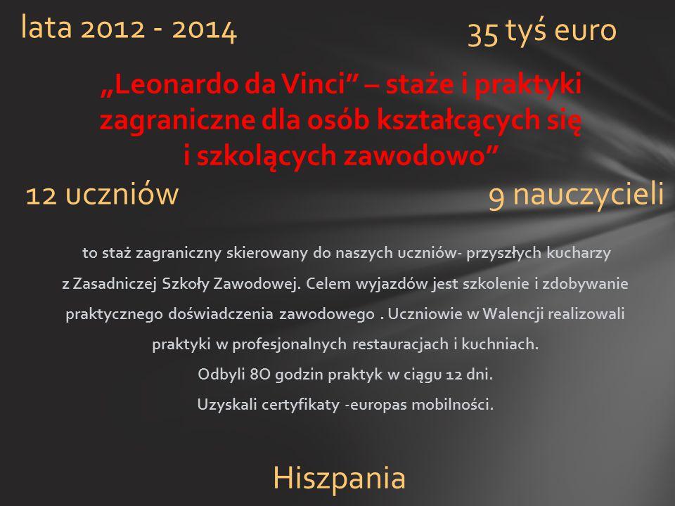 """""""Leonardo da Vinci"""" – staże i praktyki zagraniczne dla osób kształcących się i szkolących zawodowo"""" lata 2012 - 2014 12 uczniów9 nauczycieli 35 tyś eu"""