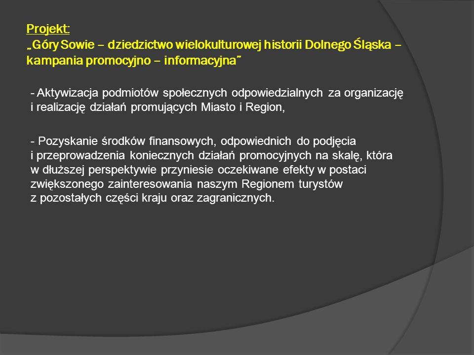 """Projekt: """"Góry Sowie – dziedzictwo wielokulturowej historii Dolnego Śląska – kampania promocyjno – informacyjna"""" - Aktywizacja podmiotów społecznych o"""