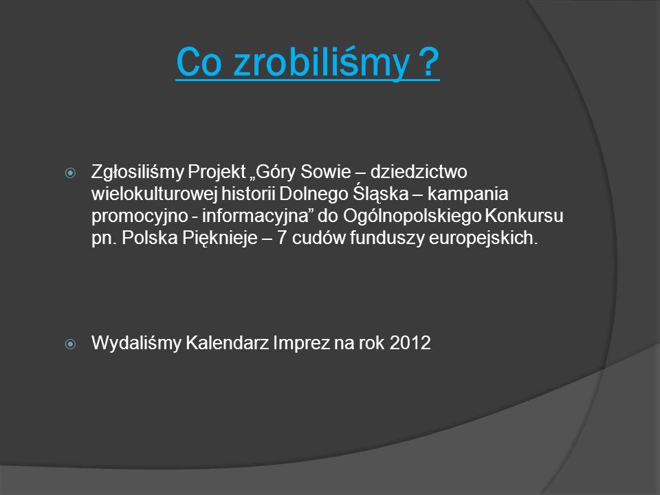 """Co zrobiliśmy ?  Zgłosiliśmy Projekt """"Góry Sowie – dziedzictwo wielokulturowej historii Dolnego Śląska – kampania promocyjno - informacyjna"""" do Ogóln"""