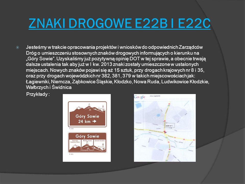 ZNAKI DROGOWE E22B I E22C  Jesteśmy w trakcie opracowania projektów i wniosków do odpowiednich Zarządców Dróg o umieszczeniu stosownych znaków drogow