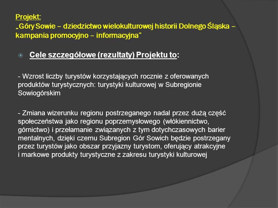 """Projekt: """"Góry Sowie – dziedzictwo wielokulturowej historii Dolnego Śląska – kampania promocyjno – informacyjna""""  Cele szczegółowe (rezultaty) Projek"""